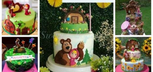 Montagem com diferentes tipos de bolo Masha e o Urso.