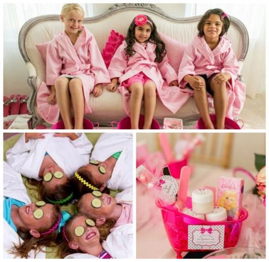 Montagem com fotos de meninas fazendo um mini spa, com os pés em bacias, pepino nos olhos e cestinha com kit de beleza.