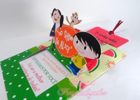 convite Show da Luna com melancias e relevo dos personagens