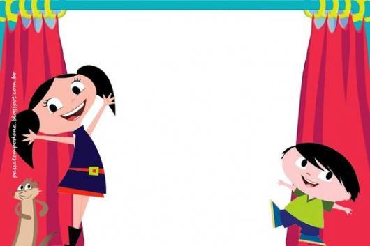 convite Show da Luna para imprimir com cortinas e personagens decorando