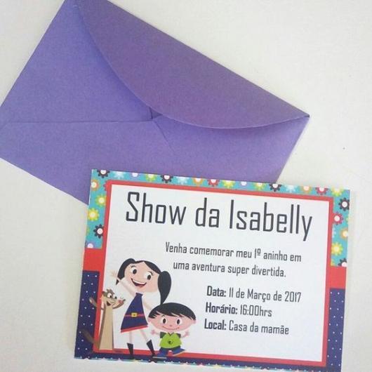 convite show da Luna com envelope roxo