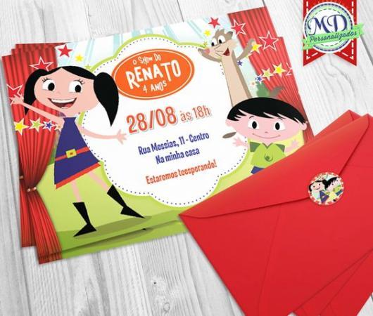 convite show da Luna com envelope vermelho
