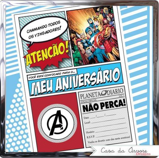 Convite de aniversário em formato de revista em quadrinhos.