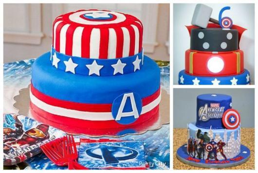 Montagem com diferentes bolos de dois e três andares.