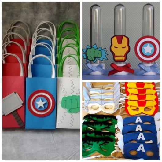 Montagem com sacolas, frascos e máscaras dos Vingadores.