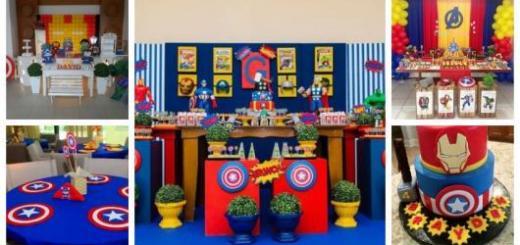 Montagem com diferentes tipos de decoração para festa dos Vingadores.