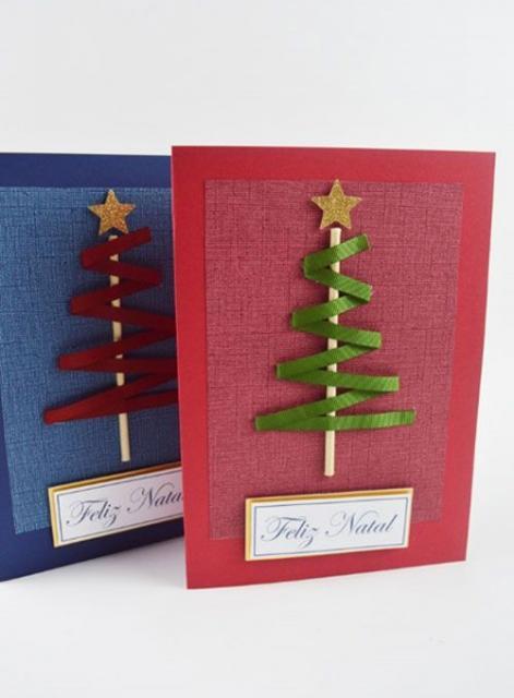 Cartões de Natal azul e vermelho