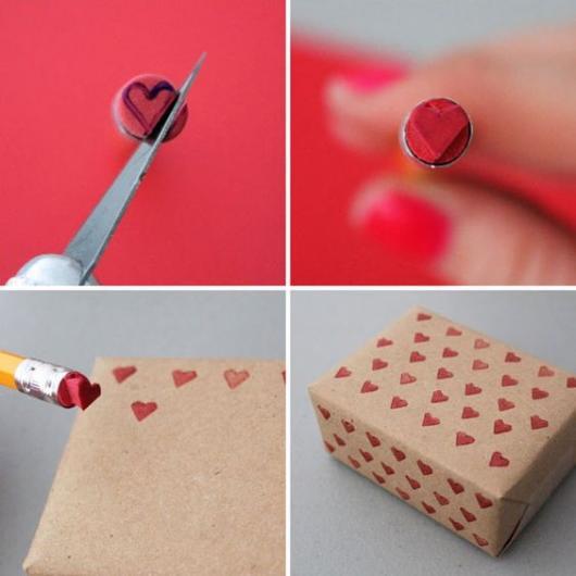 Montagem mostrando como fazer um carimbo de coração para aproveitar em embalagens.