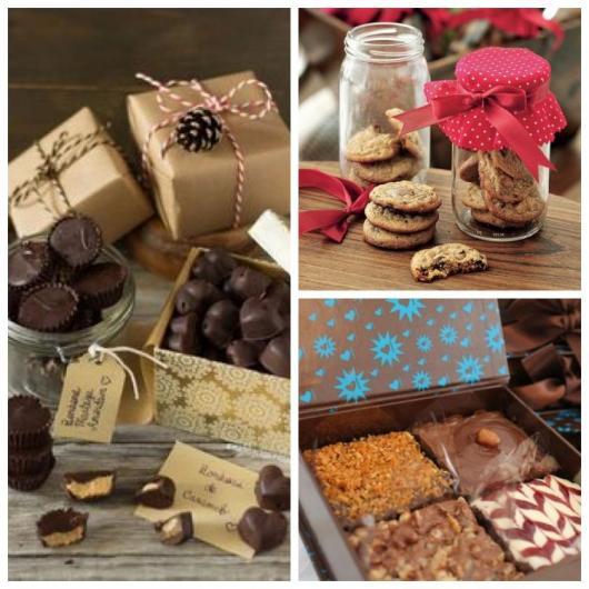 Doces em potes e caixinhas para presentes de Natal para namorado.