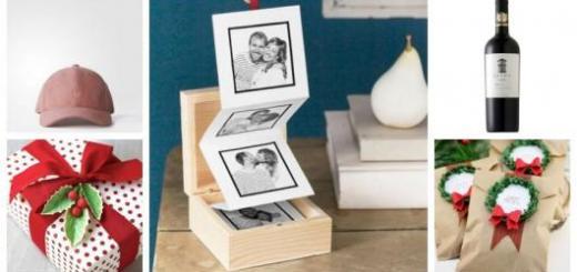 Montagem com cinco ideias de presentes de Natal para namorado.