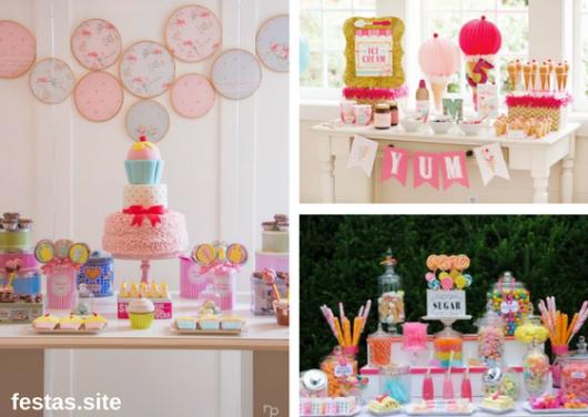 mesas decoradas com temas de doces para festa infantil feminina