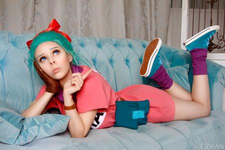 Fantasia Dragon Ball da Bulma para meninas