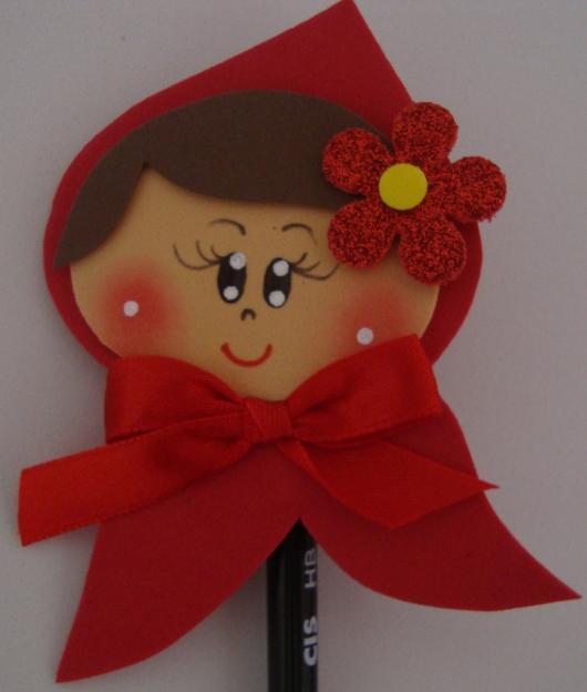 lápis decorado para lembrancinhas chapeuzinho vermelho