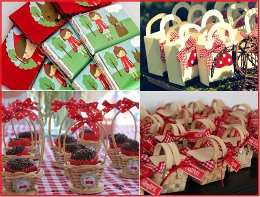 ideias para lembrancinhas chapeuzinho vermelho com sacolas e cestos