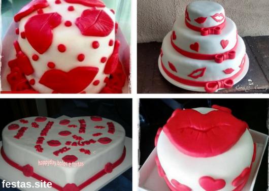 bolos de pasta americana decorado com beijos