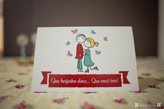 cartão de bodas de beijinho com letra de música