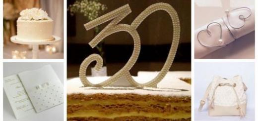 Montagem com ideias de bolo, presente, convite e decoração para comemoração das Bodas de Pérola.