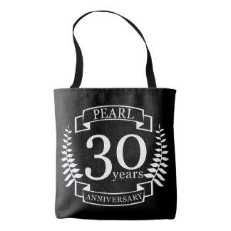 Bolsa com as palavras pérola, 30 anos e aniversário.
