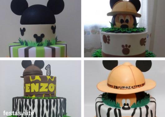 bolo fake safari de EVA decorado com Mickey