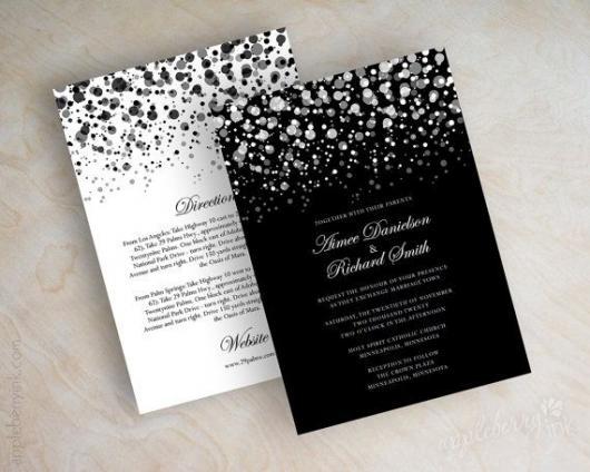 modelos de convites Preto e Branco