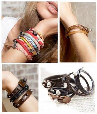 Modelos de pulseiras de couro hippie anos 60