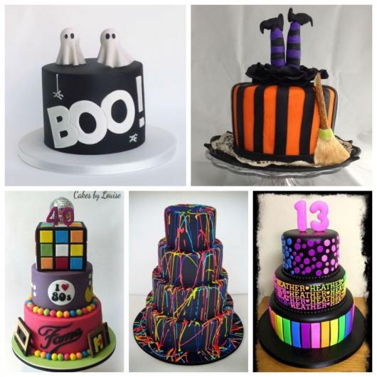 Montagem com dois bolos para festa Halloween, bolos coloridos e para festa dos anos 80.
