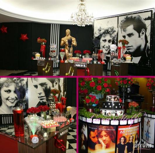 Festa com estátua do Oscar e imagens de filmes famosos.