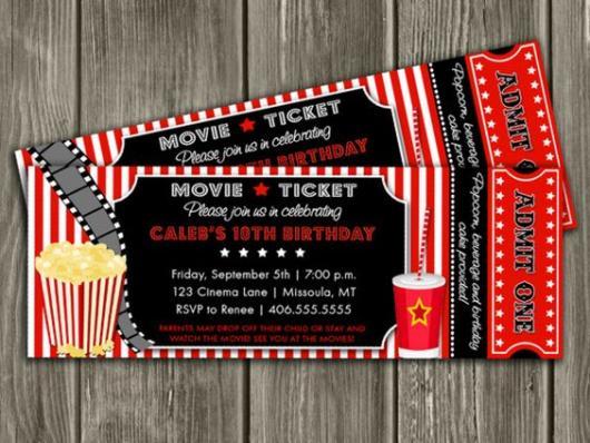 Convite em forma de tickets de cinema.