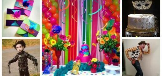 Montagem com dicas de decoração, convite, bolo e fantasias.