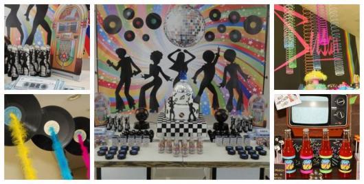 Montagem com ideias de decoração para festa à fantasia dos anos 80.