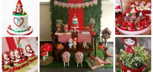 Montagem com ideias de decoração e bolo para Festa Chapeuzinho Vermelho.