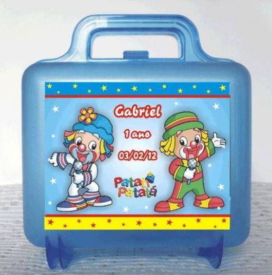 Lembrancinhas Patati Patatá maleta acrílico azul