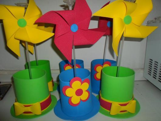 Lembrancinhas Patati Patatá centro de mesa EVA com flor