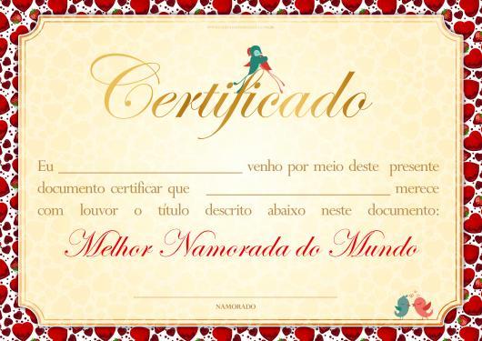 certificado de melhor namorada do mundo