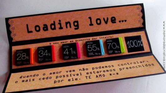 presente com chocolates de porcentagem de cacau diferente, colocados como se estivessem completando o amor em porcentagem até 100%