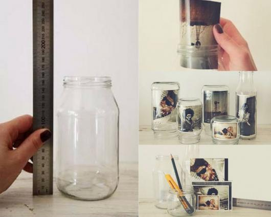 Montagem ensinando a fazer um pote com foto.