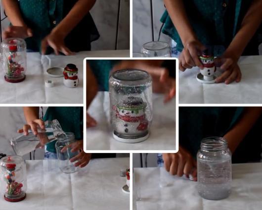 Montagem com passo a passo para fazer boneco de neve no pote.