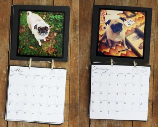 calendário com fotos de cachorro em cada mês