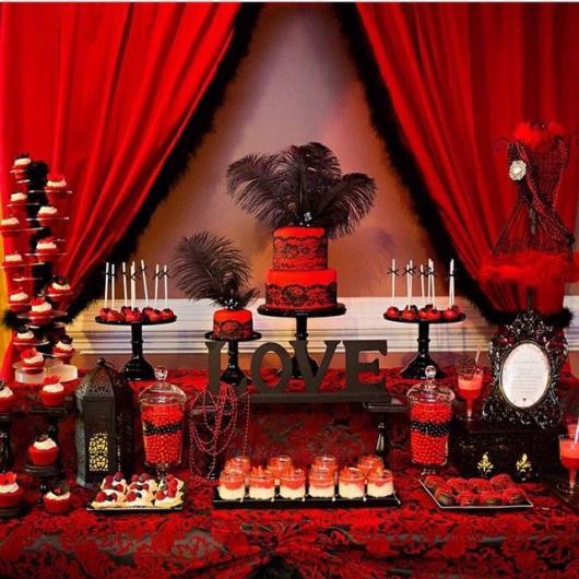 mesa de doces de aniversário cancan