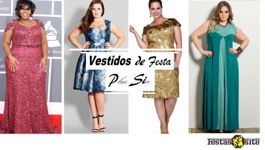 montagem com modelos de vestido em cores diversas plus size.
