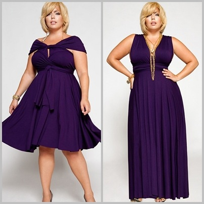 Modelos vestem vestidos curto e longo na mesma cor (roxo escuro).