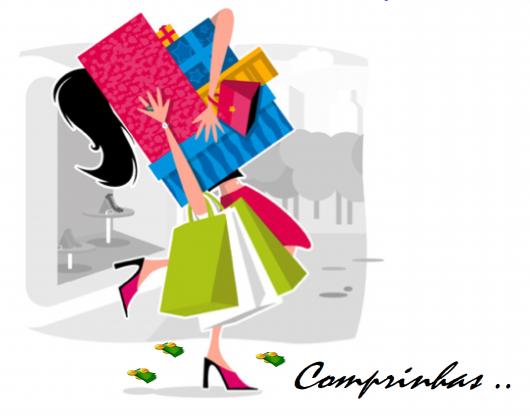 ilustração animada com desenho de sacolas de compras e mulher as carregando.