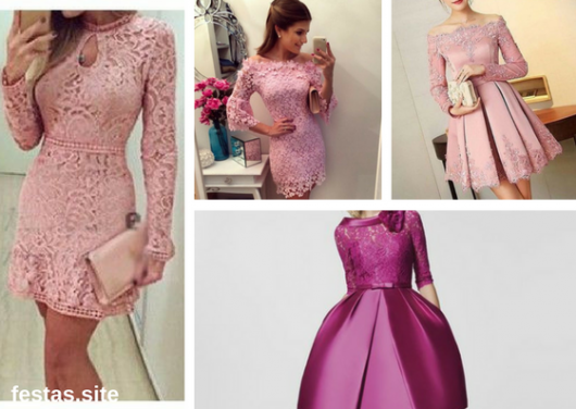 vestido de formatura rosa curto com manga