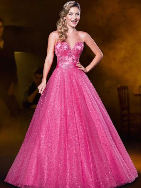 vestido de formatura rosa pink com saia rodada brilhante