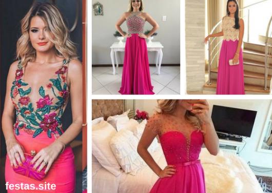 vestidos de formatura rosa pink com parte de cima decoradas