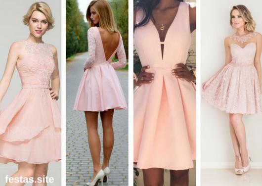 vestido de formatura rosa claro curto
