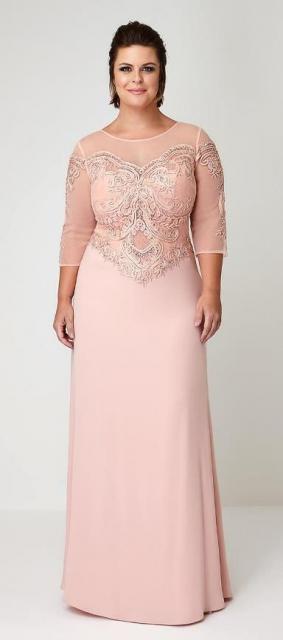 vestido de formatura rosa claro plus size com manga