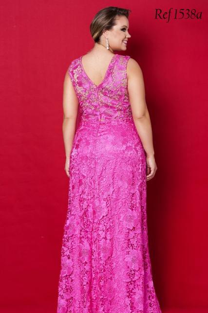 vestido de formatura rosa pink de renda para plus size