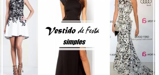 Montagem com modelos de vestidos simples nas cores preto, e preto com branco longo e curto.