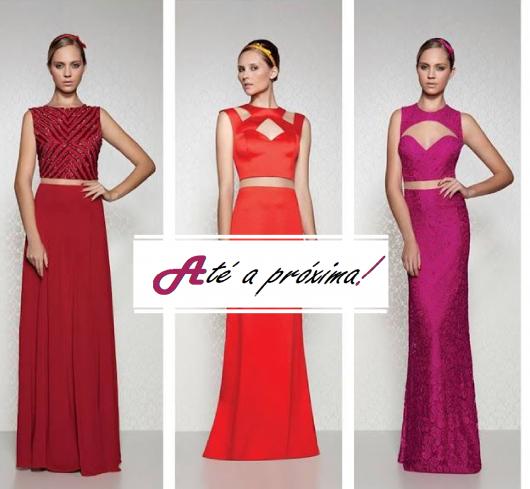 Montagem com modelos de vestido longo simples, ilustração final do post.